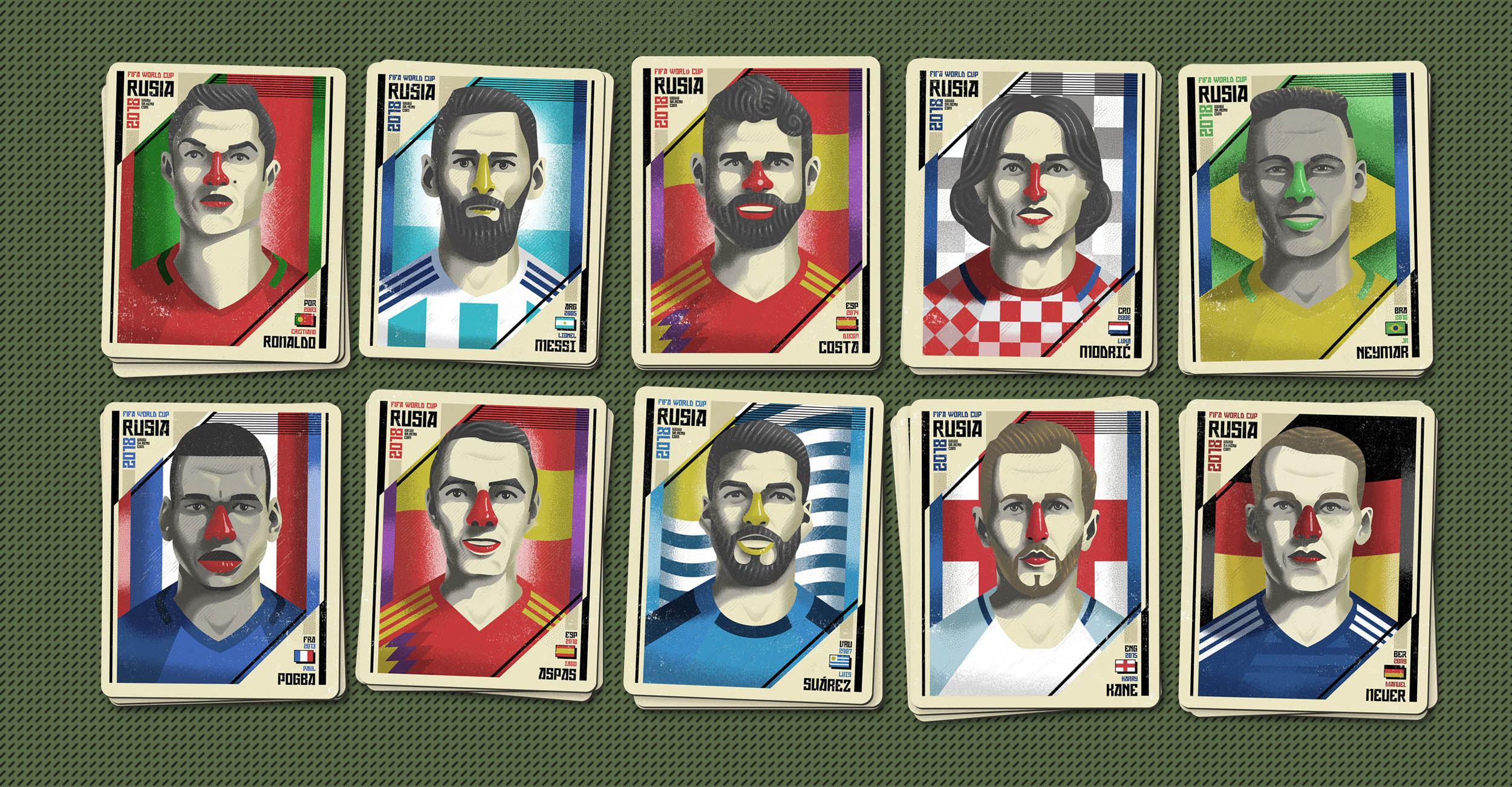 Illustrated portraits  Fifa world cup Rusia 2018