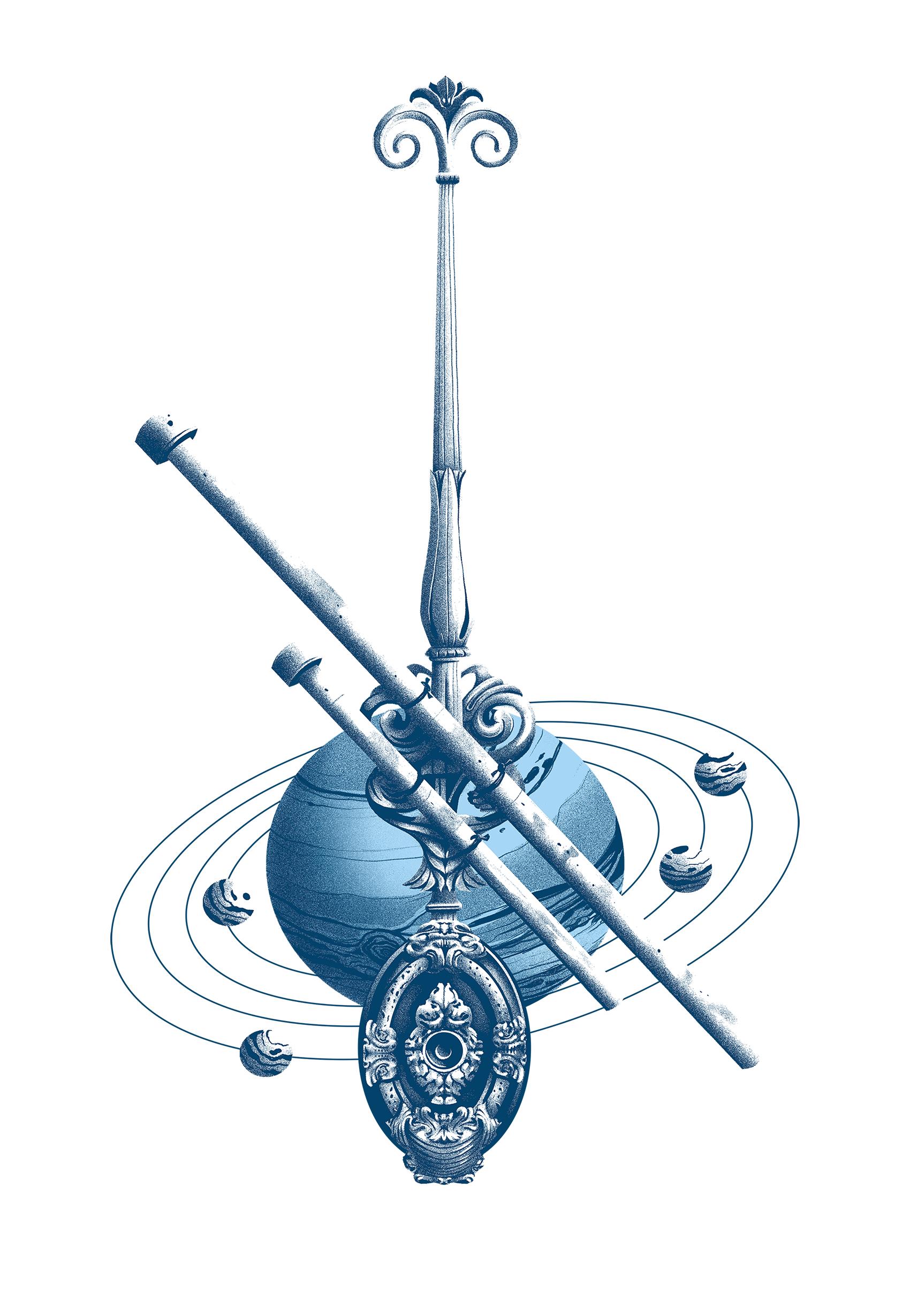"""Ilustración """"Galileo no espello da noite"""""""