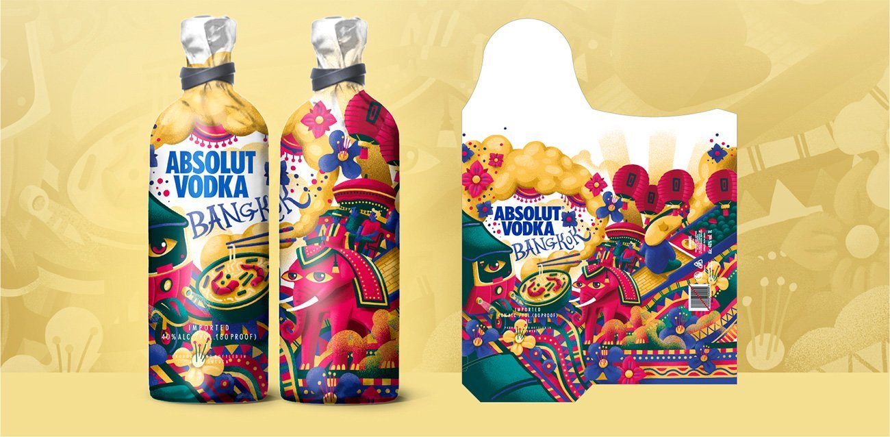 Illustration Absolut packaging by Sr.Reny